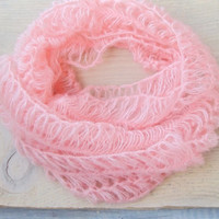 Pink Crocheted Scarf, Lacy Women Fashion Scarf