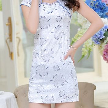 Streetstyle  Casual Band Collar Contrast Trim Leaf Printed Bodycon Dress
