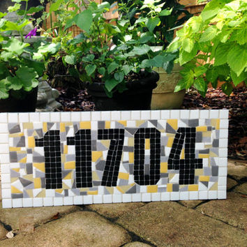 Outdoor House Number Sign, Mosaic Address Plaque, Gray Yellow White Black