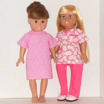 American Girl Doll Clothes Pink Medical Scrubs for Doctor or Nurse and Patient Hospital Gown