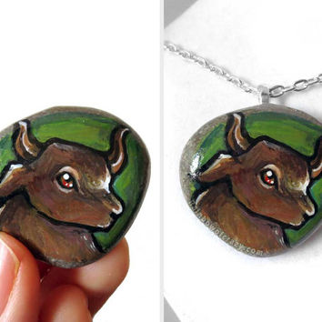 Taurus Necklace, Zodiac Jewelry, Hand Painted Pebble Art, Green Pendant, Bull Painting, Beach Stone, Astrology Sign, Gift for Her