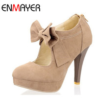 ENMAYER Sale New Round Toe Fashion Style Vintage Retro Style Woman Small Bow Platform Pumps Lady's Sexy High Heeled Shoes Women