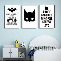 3 Panel Cartoon Letters Wall Pictures Batman Quotes Canvas Art Print Poster Decor Painting For Kids Baby Boy Room Decor No Frame