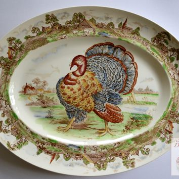 Huge Turkey Platter Midwinter Polychrome Brown Transferware Thanksgiving Serving Tray with Cows and Cottage Border
