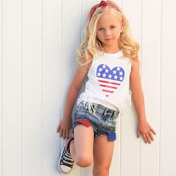 Heart Flag Fringe Outfit Denim Tank Top And Shorts