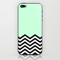 Mint Chevron Piece iPhone & iPod Skin by dani