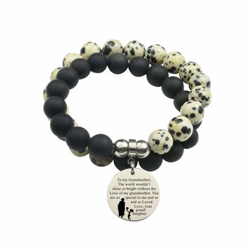 Genuine 10Mm Double Wrap Obsidian Dalmatian Mix Bracelet - To Grandmother From Granddaughter