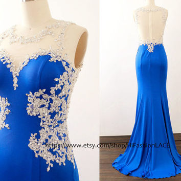 Royal Blue Prom Dresses Lace Jersey Long Gown Silver Roayl Fo