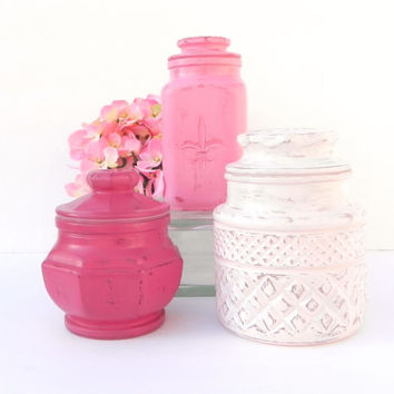 Shabby Chic Pink Canister Set, Painted Canister Set, Pink Painted Storage Canisters