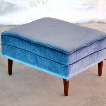 RESERVED Mid-Century Danish Modern Velvet Velour Foot Stool Bench Ottoman Pet Bed by Les Brown Vintage Retro 1960s