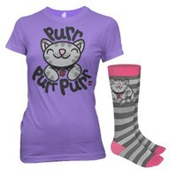 The Big Bang Theory Soft Kitty Purple Women's T-Shirt & Socks