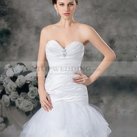 Sweetheart Satin Mermaid Gown with Brooch and Tulle Skirt