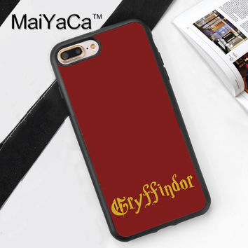 Harry Potter Gryffindor Print Mobile Phone Case Cover For iPhone 7 7Plus 6 6S Plus 5 5S 5C SE 4S Soft TPU Skin Back Shell Cover
