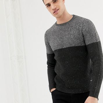 Only & Sons Color Block Knitted Sweater at asos.com