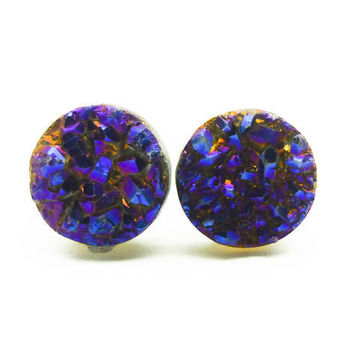 Cobalt Blue Flame Druzy Stud Earrings n.66