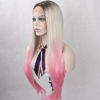 Three Tone Dark Roots Blonde Pink Ombre Wig For Women Cheap Good Quality Heat Resistant Silky Straight Synthetic Lace Front Wigs