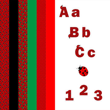 Digital Clip Art Set - Ladybug Alphabet , A-Z , Numbers , Scrapbooking , Red , Black , Polka Dot , coordinating papers INSTANT DOWNLOAD