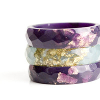 deep purple with gold leaf size 7.5 thin multifaceted eco resin ring