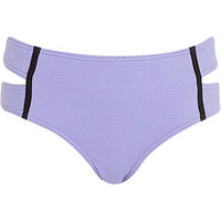 River Island Womens Lilac textured high waisted bikini bottoms