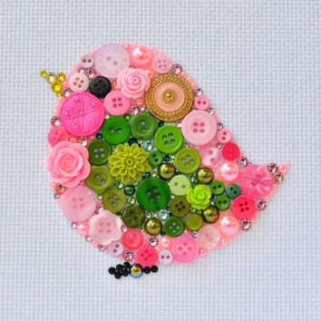 Pink Bird - Button Art Vintage Buttons Swarovski Crystal Rhinestones Pearl Cabochons