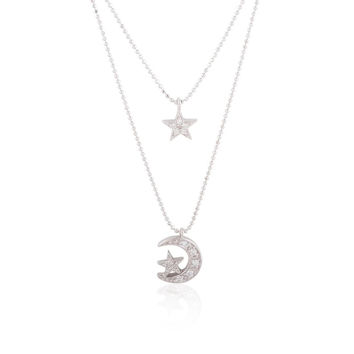Sterling Silver Star and Moon & Star Double Layer Necklace w- CZ