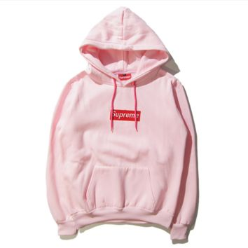 Street tide letters Box Embroidery seal Hooded hooded sweater coat Pink