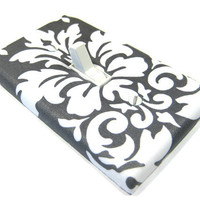 Charcoal Gray Damask Light Switch Cover Modern by ModernSwitch