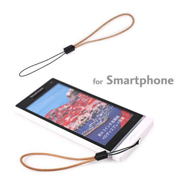 Slim Genuine Leather Finger Cell Phone Strap (Natural)