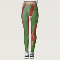 Terracotta and green leaf pattern leggings