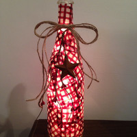 Red plaid with berries and primitive rustic star wine bottle lamp, night light, accent lamp, country decor