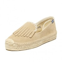 Fringe Suede Platform Smoking Slipper-Fawn Espadrilles for Women from Soludos - Soludos Espadrilles