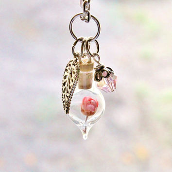 Pink Flower Terrarium Necklace, Nature Jewelry, Tiny Jewelry, Mini Glass Bottle Leaf Charm and Crystal, Antique Silver Plated Chain