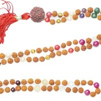 Grounding Earthing Necklace Chakra Mala Necklace Rudraksha Prayer Beads for Meditation, Healing Prayer Malas,