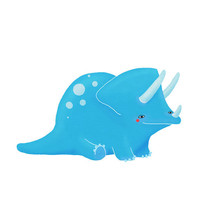triceratops childrens art quirky blue dinosaur on by lulufroot