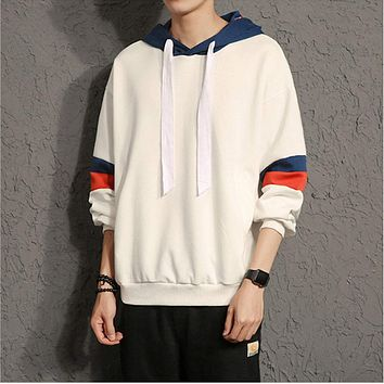 Mens Pullover Hoodie With Contrast Stripes