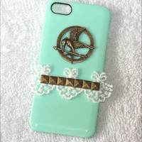 special Hunger Games mocking bird lace Rivet iphone 4 4S 5 case scratch resistant  fashion gifts trends summer fashion