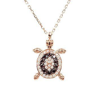Handmade 22CT Rose Gold Chocolate Turtle Pendant Necklace