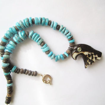 Rustic Arizona Turquoise Necklace ./. Natural Arizona Turquoises ./. Handcarved bone eagle ./.  Turquoise Pendant Necklace ./. Eagle Pendant