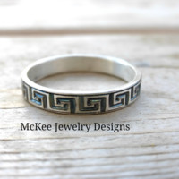 Celtic or Greek Key Sterling silver engraved ring. Handmade metal smithed ring. Unisex.