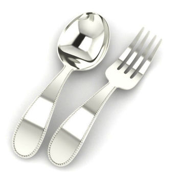 Krysaliis Beaded Sterling Silver Baby Spoon & Fork Set