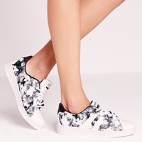 Missguided - Floral Tennis Shoes Grey