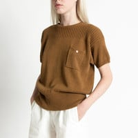 Vintage 80s Brown Lightweight Cotton Knit Short Sleeve Sweater | S/M