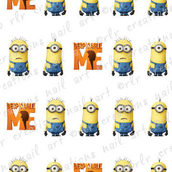 20 Nail Decals  DESPICABLE ME Water Slide Nail Decals Nail Art