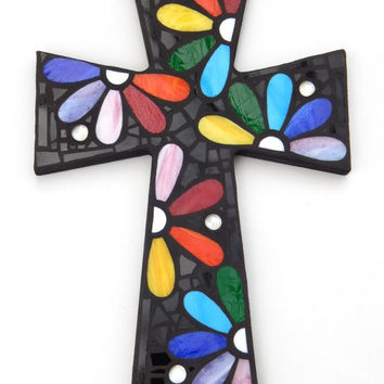 "Large Mosaic Wall Cross, Rainbow Floral Design, ""Daisies"", Multicolored/Bright Handmade Stained Glass Mosaic 15"" x 10"""