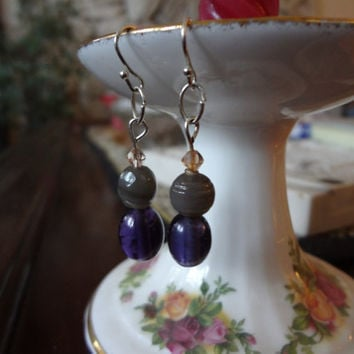 Grey and Purple Glass Bead Earrings by EudaimoniaJewelry on Etsy