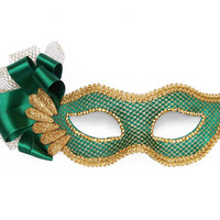 Emerald Green & Gold Masquerade Mask With Ribbon Decoration -  Venetian Mask Decorated With Gold Netting Tulle And Glitter Beads