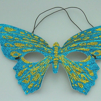 New Beautiful Venetian Butterfly Turquoise/Gold Mask Masquerade Mardi Gras