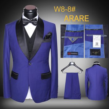 Mens Suits 5 piece (Jacket+Pants+Vest+Tie+Square) New 2017 Fashion A grain Of Buckle Suits Men Costume Homme Groom Suits XX01