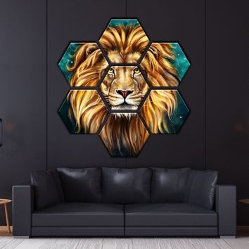 Lion Painting Hexagonal Canvas Set