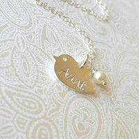 Aunt Necklace-Thai Silver Chick Charm Hand Stamped with  Aunt -Gift for Aunt/Auntie Gift?Aunty